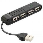 Trust Vecco 4 Port USB 2.0 Mini Hub - Fekete