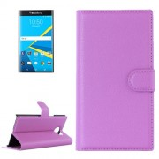 For Blackberry Priv Litchi Texture Horizontal Flip Leather Case with Magnetic Buckle & Holder & Card Slots & Wallet(Purple)