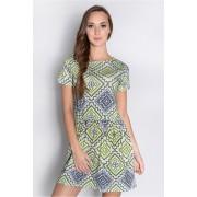 Dámské zelené šaty se vzorem 0013