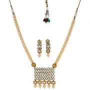 Zaveri Pearls Gold Tone Traditional Kundan Moti Mala Necklace Set-ZPFK7434