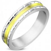 Arany és ezüst színű, két szélén bordázott nemesacél gyűrű