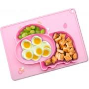 Placemat Kinderen - Kinderservies - Baby Placemat - 2 in 1 Antislip Babybord - Siliconen Duurzaam Vaatwasser Bestendig Koe Roze
