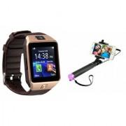 Zemini DZ09 Smart Watch and Selfie Stick for SAMSUNG GALAXY S DUOS 3(DZ09 Smart Watch With 4G Sim Card Memory Card| Selfie Stick)