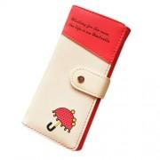 Piros-bézs esernyős pénztárca