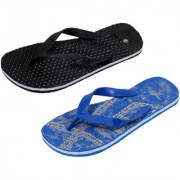 IndiWeaves Men Step Care Flip Flop House Slipper and Hawaai Chappal-(Pack of 2)