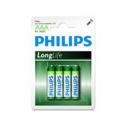 Philips Batterij LRO3 Longlife 1.5V AAA Per 4 Stuks