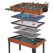 Tischkicker HWC-E12, Tischfussball Billard Hockey 7in1 Multiplayer Spieletisch, 82x107x60cm ~ Variantenangebot