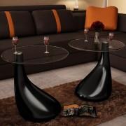 vidaXL 2 konferenčné stolíky,okrúhla sklenená doska,vysoký lesk,čierny