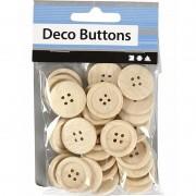 Merkloos Naai accessoires blank houten knopen 30 stuks