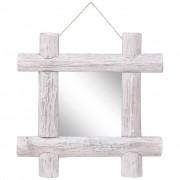vidaXL Espelho de troncos 50x50 cm madeira recuperada maciça branco