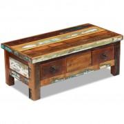 vidaXL Mesa de centro sólida + gavetas madeira reciclada 90x45x35 cm