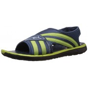 Puma Unisex Faas slide Ind. Majolica Blue, Lime Green and White Athletic & Outdoor Sandals - 11 UK