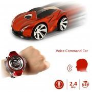 2.4GHz Mini Rc Coche De Control Remoto De Comando De Voz Auto Smart Watch Sports Car Toy (naranja)