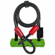 ABUS Ultra Mini 410 + Cobra 10 Lucchetto per bicicletta (180 mm, nero/verde)