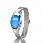Ceas inteligent christina argintiu (Z18)Christina Silver Smartwatch (Z18) - Un ceas cu adevărat șic, cu o curea subțire de metal pentru a vă menține feminină în timpul exercițiilor fizice.