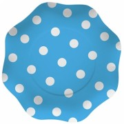 Farfurii 18 cm Pois Turcoaz 10 buc/Set Big Party