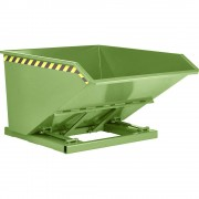 Kippbehälter, niedrige Schüttkantenhöhe Volumen 1,0 m³ resedagrün RAL 6011