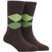 Soxytoes Sport Argyle Brown Cotton Calf Length Pack of 1 Pair Argyle for Men Athletic Sports Socks (STS0038D)
