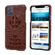 Alligator Head Texture Genuine Leather Coated PC Phone Shell Protective Case for iPhone 11 Pro Max 6.5 inch - Brown