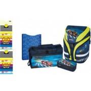 Set Scoala Herlitz Motion Plus Super Racer - Ghiozdan Ergonomic Penar Echipat 1 Fermoar Geanta Sport
