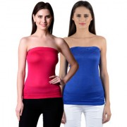 NumBrave Womens Pink Blue Tube Top (Combo of 2)