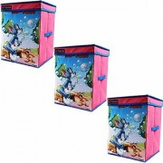 Tom Jerry Storage Box Big with Lid Toys Organizer for Kids Large Pink set of 3