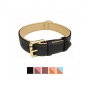 Soft Touch Collars Leather Two-Tone Padded Dog Collar, Black, X-Large