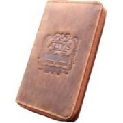ABYS Genuine Leather Passport Wallet||Travel Organizer||Card Case with Metallic Zip Closure for Men & Women(Brown)