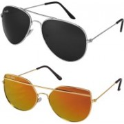 Silver Kartz Aviator, Retro Square Sunglasses(Black, Golden)