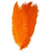 Merkloos 20x Grote decoratie veren/struisvogelveren oranje 50 cm
