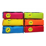SR GIFTS Multicolor Smiley Pen Pencil Pouch For Kids Birthday Return Gift (Set Of 6)