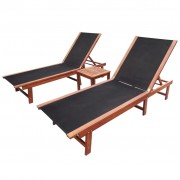 vidaXL Set șezlonguri, 3 piese, lemn de acacia