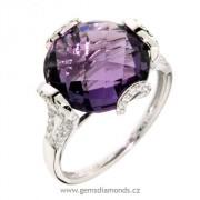 Luxusní prsten s diamanty, ametyst, kolekce Magic, bílé zlato