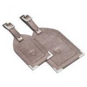 Set of 2 Luggage Tags Gunmetal Saffiano