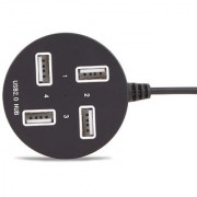 Techon 4 Port USB Hub for Laptop PC Multi USB Port High Speed Round Shape Color May Vary (Black or White)