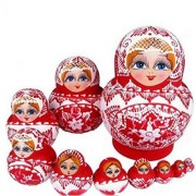 GoodPlay Cartoon Wooden Nesting Dolls for Kids Handmade Paints Stacking Nested Set Toys Dolls Party Supplies Home Room Decoration Cultural Keepsakes (Red Girl Pattern, 10 Pieces)