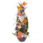 Centro vertical Tonos Naranjas - Flores a Domicilio