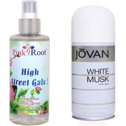 Jovan White Musk for Men 150ml and Pink Root High Street Gals Fragrance body Spray 200ml Pack of 2