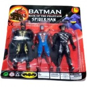 Nawani Set of 3 Superhero Avengers Action Toy-Batman Spiderman(Multicolor) Size- 12/6 cm