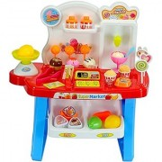 Smartcraft Luxury Supermarket Shop - Blue Candy Sweet Shopping Cart Ice Cream Supermarket Role Playset Toy for Kids