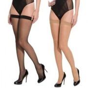 Neska Moda Women 2 Pair Nylon Skin And Black Thigh Highs Stockings