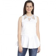 INSPIRE WORLD Women's 100 Pure Cotton Linen Satin Peplum Top In Sparkling White Color With Skin Friendly Lining And Crystal Neck Line (IWT0062016S)