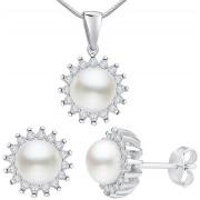 Silvego Set din argint VERA perle albe autentice LPS1166 (cercei, pandantiv)