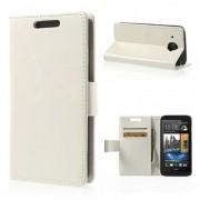 Кожен калъф с магнитна закопчалка за HTC Desire 601 Zara - бял