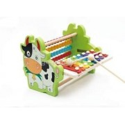 Alcoa Prime Kids Development Fun Colorful Beads Cow Shape Rack Hand Knock Piano Toy Set