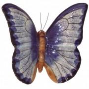 Papillon céramique 23 cm bleu, décoration de jardin