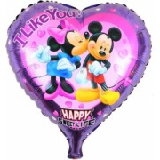 Balon folie forma inima Mickey si Minnie Mouse Domi Party and Gifts Mov 45 cm