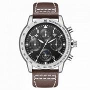 hannah martin 2256 reloj de cuarzo de la tripulacion de vuelo reloj PU correa de cuero 4 diales decorativos? 30m resistente al agua - marron