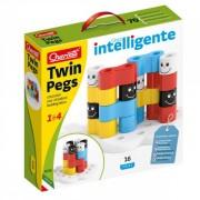 Joc educativ pentru copii Quercetti Twin Pegs 4026 joc constructie 16 piese multicolore si baza speciala in forma de floare