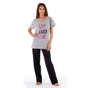 Pijama dama Laugh Grey, din bumbac